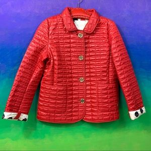 kate spade • red signature quilted barn jacket l